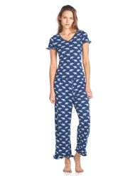 f33719d5ce9 BHPJ By Bedhead Pajamas Women's Fitted Soft Knit Ruffle Short Sleeve Capri Pajama  Set - Navy