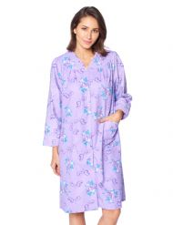 Casual Nights Women s Floral Snap Front Flannel Duster Long Sleeve Lounger  Dress - Purple Violet 40ee4f824