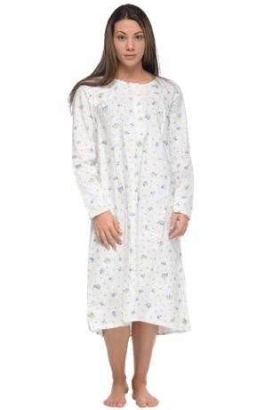 Casual Nights Women s Flannel Floral Long Sleeve Nightgown - Green ... 1a357a399