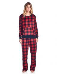 Ashford   Brooks Women s Mink Fleece Hoodie Pajama Set - Buffalo Check Black dfe75b78e
