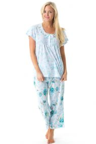 c63ae554c12 Casual Nights Women's Short Sleeve Embroidered Floral Capri Pajama Set -  Green