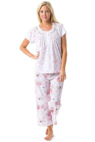 f6b40659ed4 Casual Nights Women's Short Sleeve Embroidered Floral Capri Pajama Set -  Pink