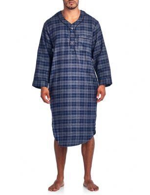 49db5e60e0 Ashford   Brooks Mens Flannel Plaid Long Sleep Shirt Henley Nightshirt -  Charcoal Blue