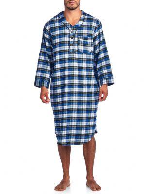 0022ee9d0e Ashford   Brooks Mens Flannel Plaid Long Sleep Shirt Henley Nightshirt -  White Blue