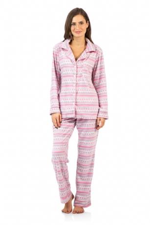 43a9527bd282 Ashford   Brooks Women s Cozy Micro Fleece Pajama Set - Pink   Ivory ...