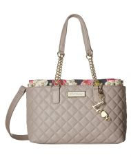 Betsey Johnson Pearl Collar Multi Compartment Satchel Shoulder Bag Grey