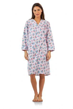 Casual Nights Women s Garden Flannel Duster Dress - Pink LA3009PK df3a4c804