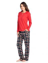 c40d95d073 Ashford   Brooks Women s Cotton Long-Sleeve Top Flannel Pants Pajama  Sleepwear Set - Black