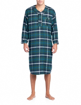 Ashford   Brooks Mens Flannel Plaid Long Sleep Shirt Henley Nightshirt -  Navy Green  beed65370