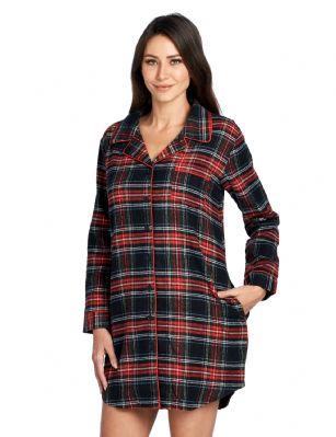 0a4852100ab7d Ashford & Brooks Women's Flannel Plaid Sleep Shirt Button Down Nightgown -  Black Stewart