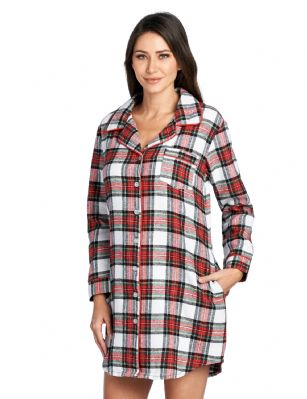 7d0f55b607849 Ashford & Brooks Women's Flannel Plaid Sleep Shirt Button Down Nightgown -  Dress Stewart