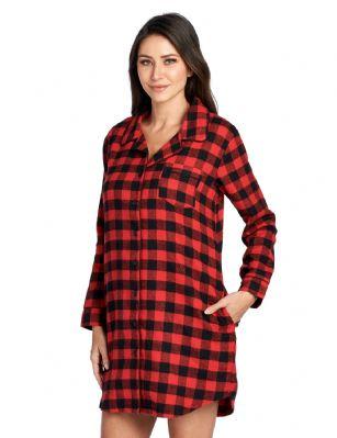 2adc2baeb9 Ashford   Brooks Women s Flannel Plaid Sleep Shirt Button Down Nightgown -  Red Buffalo Check
