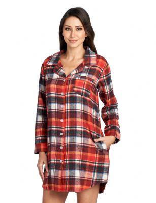 4b15d08f3b Ashford   Brooks Women s Flannel Plaid Sleep Shirt Button Down Nightgown -  Sunset