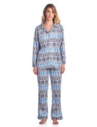 Ashford   Brooks Women s Minky Micro Fleece Button Up Pajama Set - Fair  Isle Ivory cd00e8906