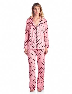 ecc8cc1503a6 Ashford   Brooks Women s Cozy Mink Fleece Pajama Set - Pink Black ...