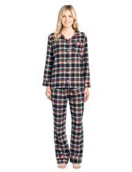 f3246b7c9b Ashford   Brooks Women s Flannel Plaid Pajamas Long Pj Set - Black Ivory