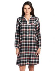 50b809ec19 Ashford   Brooks Women s Flannel Plaid Long Sleeve Snap Front Lounge Duster  - Black Ivory