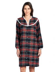 Ashford   Brooks Women s Flannel Plaid Long Sleeve Snap Front Lounge Duster  - Black Stewart 4a8a0eaf0