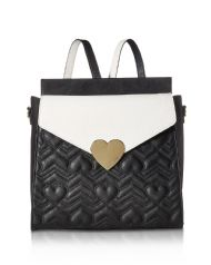 09b616d1f Betsey Johnson Heartbeat Quilted Convertible Quilted Backpack - Black/Cream