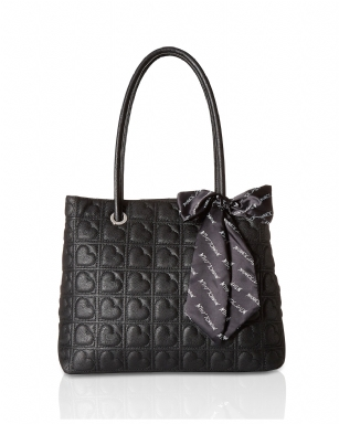 50ea307d441 Betsey Johnson Heart Quilted Satchel With Scarf Handbag - Black ...
