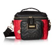 6a7f4bace7 Betsey Johnson Chevron Bow Quilted Cargo Lunch Tote - Black Red
