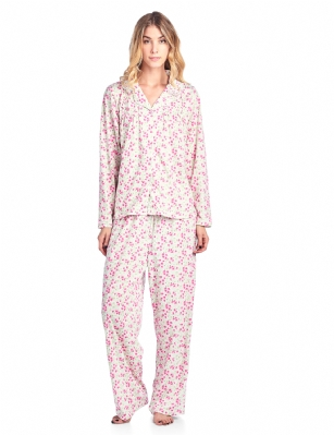 Casual Nights Women s Long Sleeve Floral Button Down Pajama Set - Pink  Floral - Please use ffb0266bc
