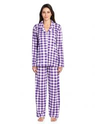 3deff6becf Casual Nights Women s Long Sleeve Rayon Button Down Pajama Set - Purple  Plaid