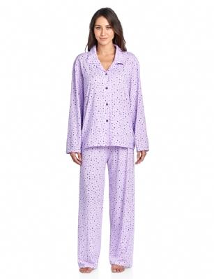 e50bafdaf8da Casual Nights Women s Long Sleeve Rayon Button Down Pajama Set - Purple  Starts