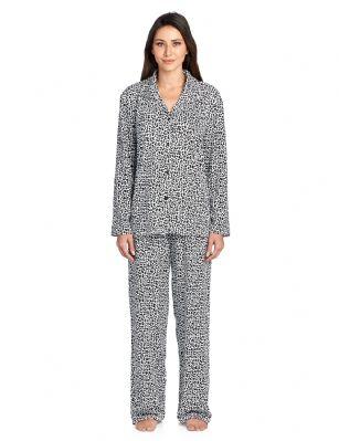 a23dd055f Casual Nights Women's Long Sleeve Rayon Button Down Pajama Set - Black  Cheetah