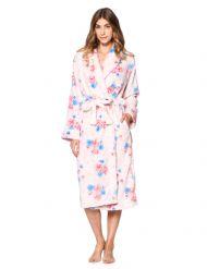 Casual Nights Women s Floral Long Sleeve Mini Popcorn Fleece Plush Robe -  Pink ca5235643