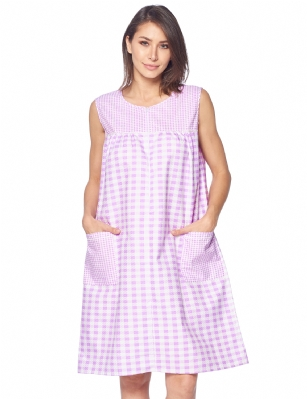 8b964ffe18ad Casual Nights Women's Zipper Front House Dress Sleeveless Seersucker Housecoat  Duster Lounger - Gingham Purple