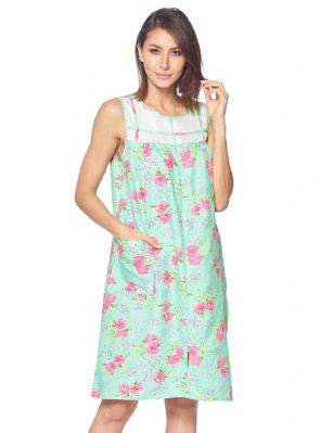 45d4df73b5ca Casual Nights Women's Woven Zip Front House Dress Sleeveless Housecoat  Duster Lounger Sleep Gown - Floral Mint