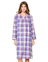 Casual Nights Women s Flannel Plaid Long Sleeve Nightgown - Purple 94fab9685