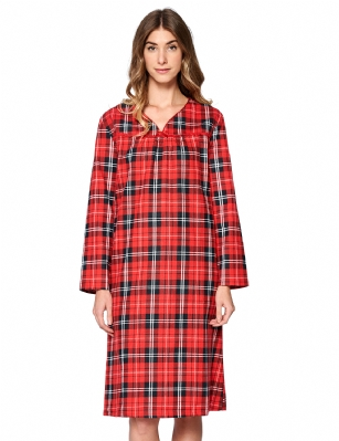 Casual Nights Womens Flannel Plaid Long Sleeve Nightgown Red La668rd