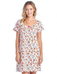b71f34b6a8 Casual Nights Women s Cotton Short Sleeve Nightgown Sleep Shirt - Blossom  Fire Red