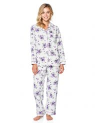 bd96bdf0c3 Casual Nights Women s Flannel Long Sleeve Button Down Pajama Set - White  Purple