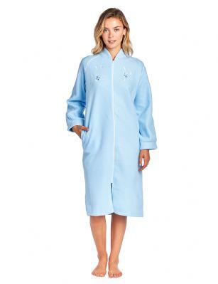 Casual Nights Women s Zip Up Front Long Fleece Robe House Dress - Blue e5dcd0b4e