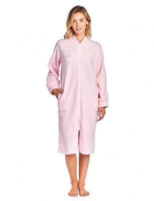 Casual Nights Women s Zip Up Front Long Fleece Robe House Dress - Pink 97470198f