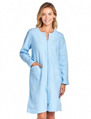 Casual Nights Women s Long Sleeve Zip Up Front Short Fleece Robe - Blue a714b274d