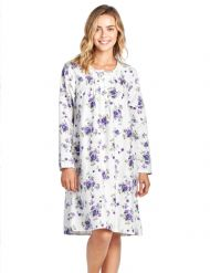Casual Nights Women s Flannel Floral Long Sleeve Nightgown - White Purple c919eff10