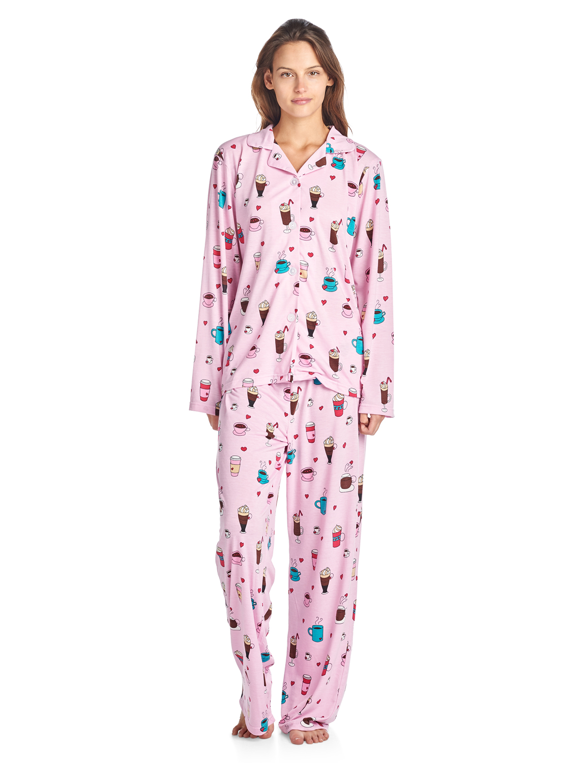 ebc8a3bf4 Bhpj By Bedhead Pajamas Women's Brushed Back Soft Knit Pajama Set - Lt.  Pink Lattes and Shakes