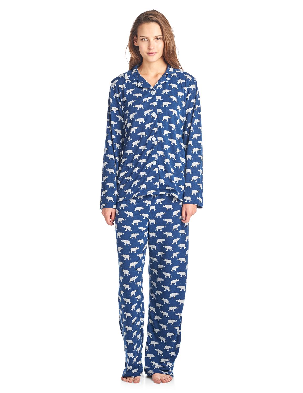280cd0ff2e Bhpj By Bedhead Pajamas Women s Brushed Back Soft Knit Pajama Set - Navy  Grey Elephant