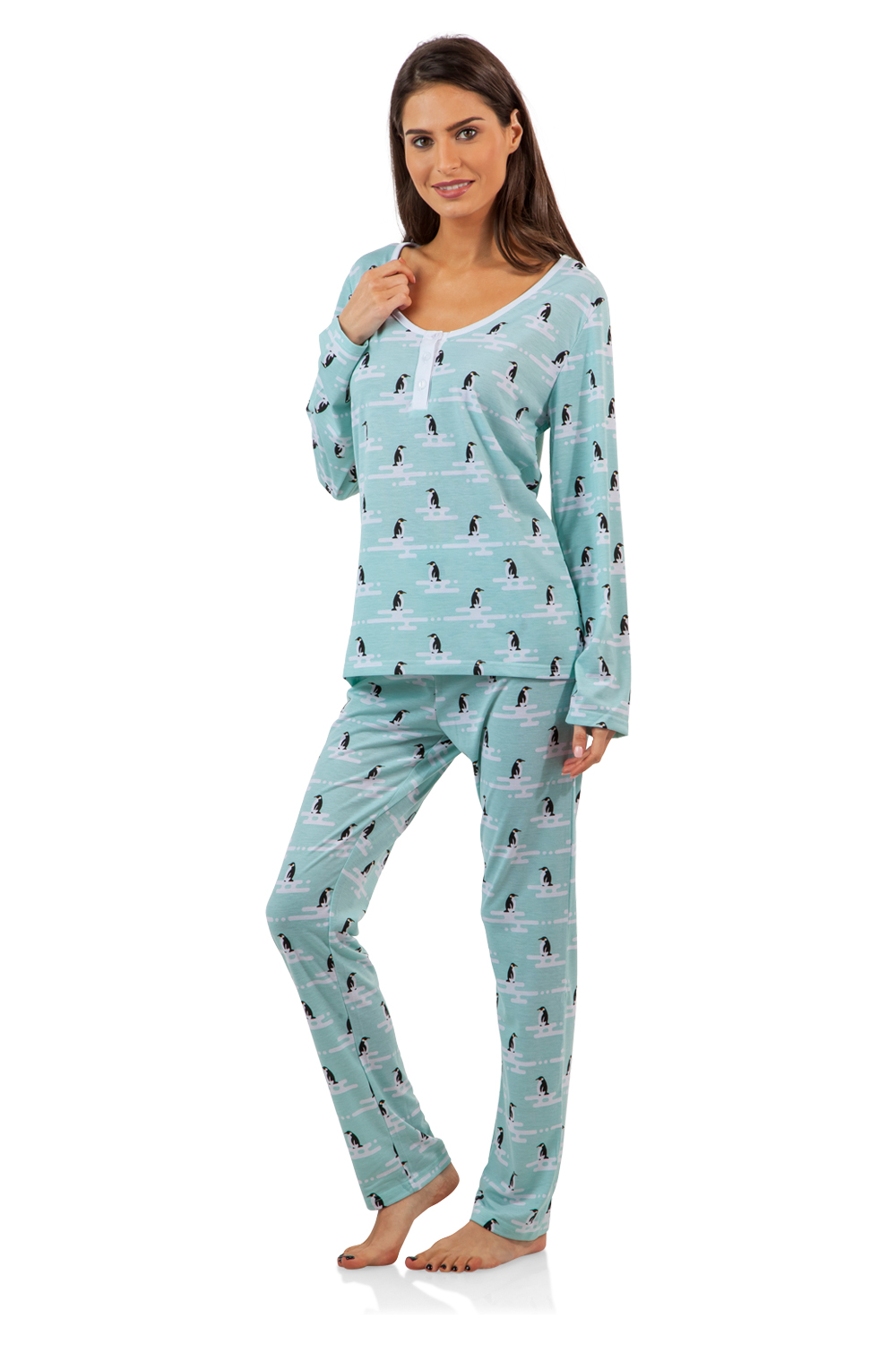 1571d1d8 BHPJ by BedHead Pajamas Women's Soft Knit Henley Shirt Pajama Set ...