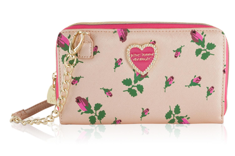 781ab0ea291b Betsey Johnson Metallic Crossbody Wallet On A String Bag - Rosebud ...