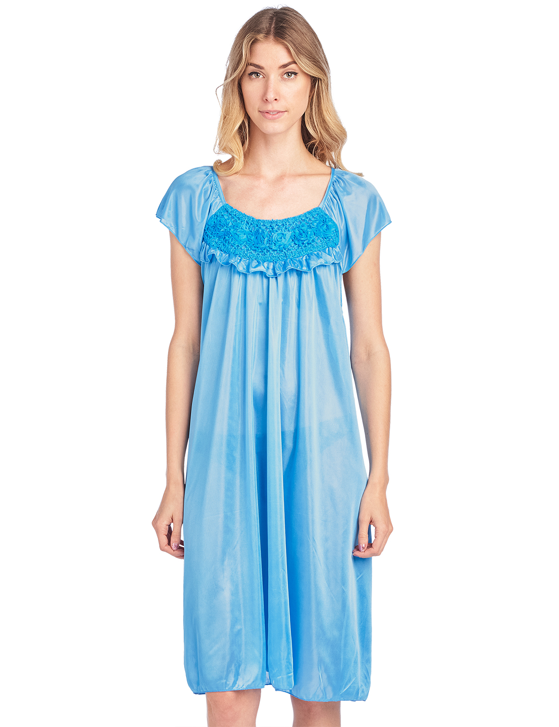 Casual Nights Womens Cap Sleeve Flower Silky Tricot Nightgown
