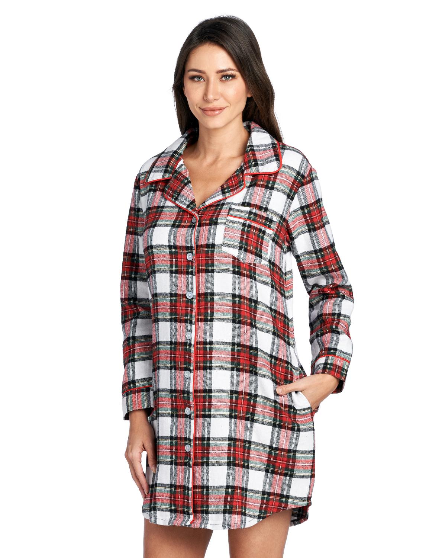 Ladies Check Flannel 100/% Cotton Nightshirt Button Up Warm Soft Nightie Shirt PJ