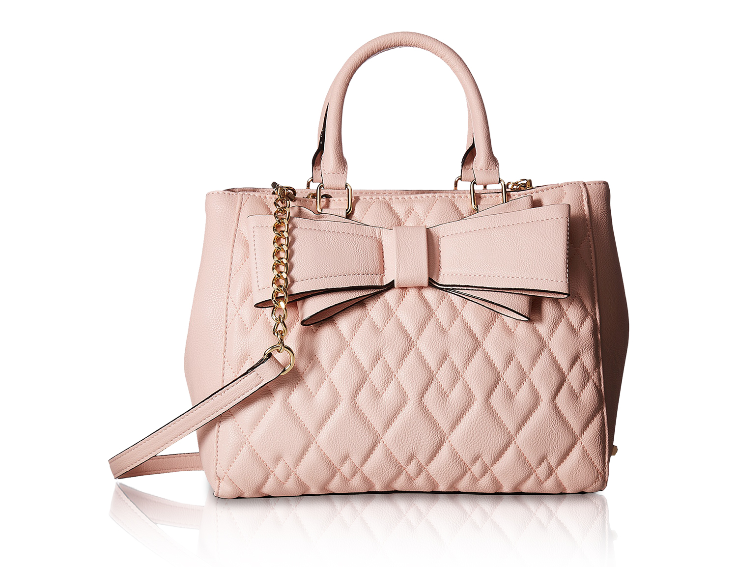 65170615d1 Betsey Johnson Quilted Multi Compartment Satchel Shoulder Bag - Pink ...