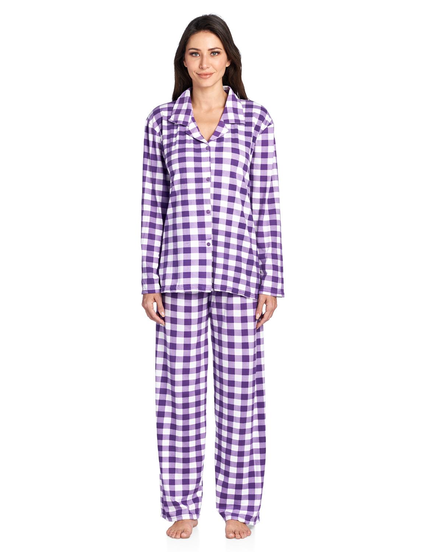 99c031224a8c Casual Nights Women s Long Sleeve Rayon Button Down Pajama Set - Purple  Plaid