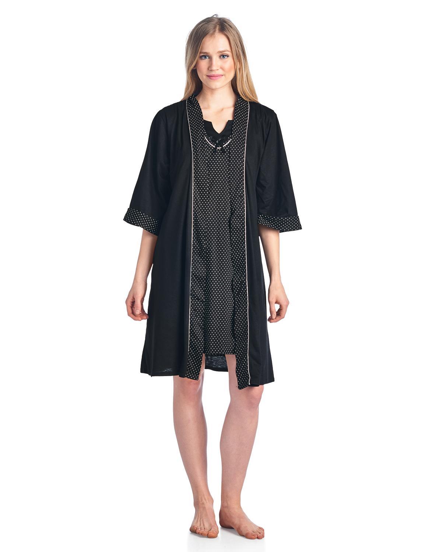 86c8b68f1a5c Casual Nights Women s Sleepwear 2 Piece Nightgown and Robe Set - Black