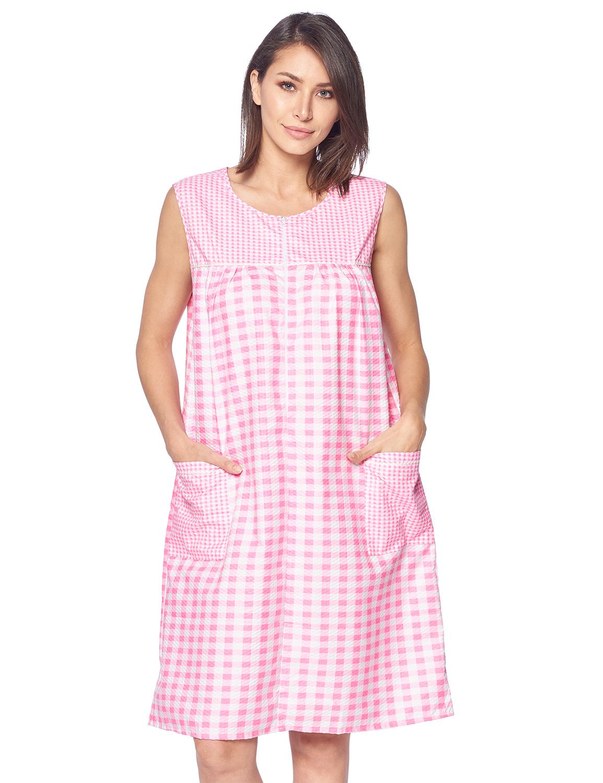 Casual Nights Women S Zipper Front House Dress Sleeveless